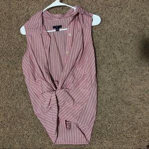 Gap Sleeveless Striped Button Down Shirt